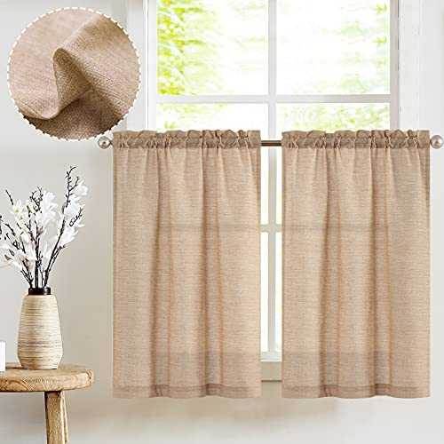 JINCHAN Kitchen Curtains for Bathroom Linen Textured Window Curtains Short Cafe Curtains 36 Inch Length for Small Window Treatment 2 Panels Taupe