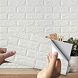 10PCS Papel Pintado, Papel Adhesivo Papel Pintado Ladrillo Vinilo 3D Efecto Ladrillo Impermeable, para Sala de Estar Habitación Cocina Comedor Fondo de TV, 35 x 38 cm(blanco)