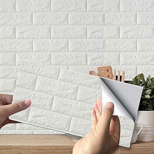 10 Stück / Packung 3D Tapete 38 x 35cm,Selbstklebende Ziegelstein Steinoptik Wandtapete Steintapete Fototapete Klebefolie Steinoptik Küche Spritzschutz Küchenrückwand Deko