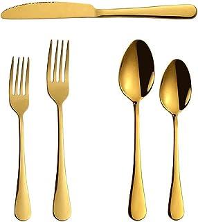 مجموعة مناكسين، مجموعات أطباق فولاذية من الفولاذ المقاوم للصدأ من 5 قطع، سكين/ملعقة/شوكة، مرآة أواني الطعام مصقولة، غسالة ...