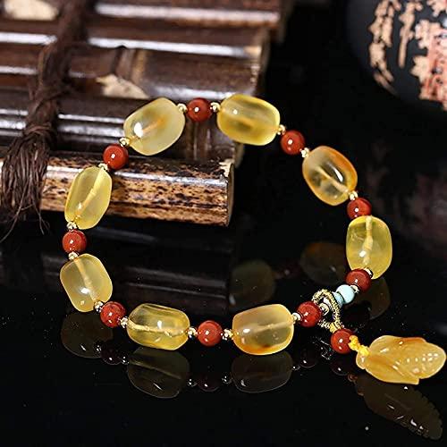 Feng Shui Pulsera de Ámbar de Oro Natural Chakra Gems Piedras Linda Moneda Colgante Brazalete Strongy Bangle Hecho a Mano para Adultos Unisex Puede traer Buena Suerte