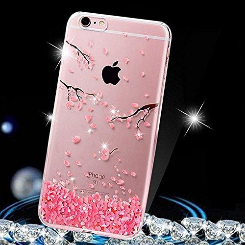 JAWSEU iPhone 6/6S Cover Custodia Silicone Trasparente Fiori di Ciliegio Rosa, Cristallo Chiaro Diamante Bling Glitter Ultra Sottile Soft Gel Flessibile TPU Protettiva Bumper Case