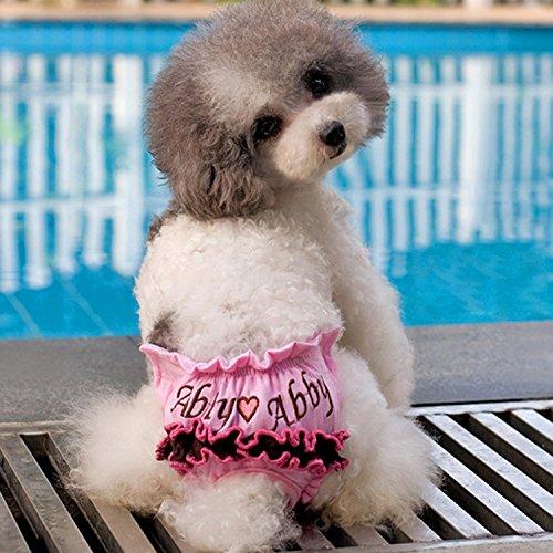 Happy LEMON PetSupplies hond specifiek geborduurd Pet Sanitario ondergoed broek maat L (taille: 25-35 cm) veilig en comfortabel, Size: l pink