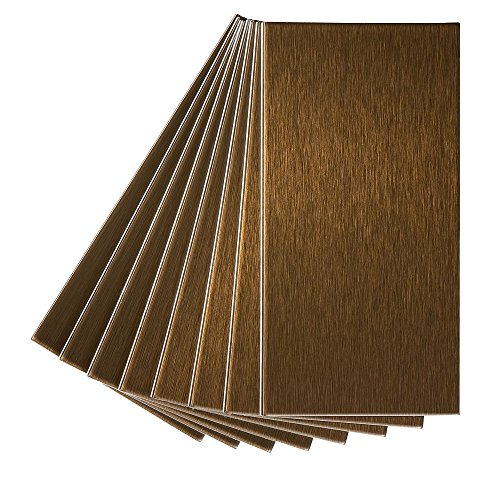Aspect Peel and Stick Backsplash 3in x 6in Brushed Bronze Long Grain Metal Tile for Kitchen and Bathrooms (8-Pack)