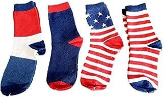 Wool Blend Blue Red White 3 multi-colour multi-pattern design crew socks, multi-pack of 4 socks
