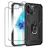Custodia per iPhone 12 Pro Max con pellicola protettiva in vetro temperato, supporto ad anello a 360 gradi, custodia protettiva per iPhone 12 Pro Max (nero)