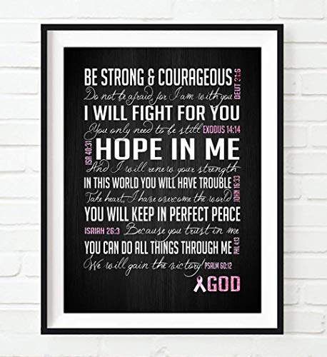 Be Strong and Courageous, Breast Cancer Awareness Encouragement Art Print, Unframed, Pink Survivor Bible Verse Scriptures Poster Gift for Her, 5x7 inches