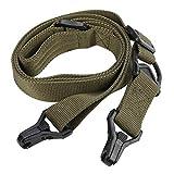 Cinturino Regolabile per Fucile da Caccia con 1 o 2 Punti, Realizzato in Nylon Ad Alta Densità Robusto e Resistente(Army Green)