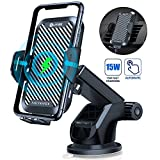 WAITIEE Wireless Car Charger, 15W Fast QI Charging Cell Phone Automobile Chargers,Auto-Clamping Air Vent Holder Dashboard Car Mount for iPhone 11/11 Pro Max/XS/XR/X/8 plus/8/SAMSUNG/Google/LG/Sony