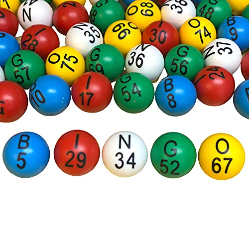 """MR CHIPS 7/8"""" Bingo Balls with Large Letters and Large Numbers That Will Never Rub Off, Scratch or Fade, no Prone to Glare and Prone to Scratch Window Coverings (for 12"""" Bingo Cages)"""