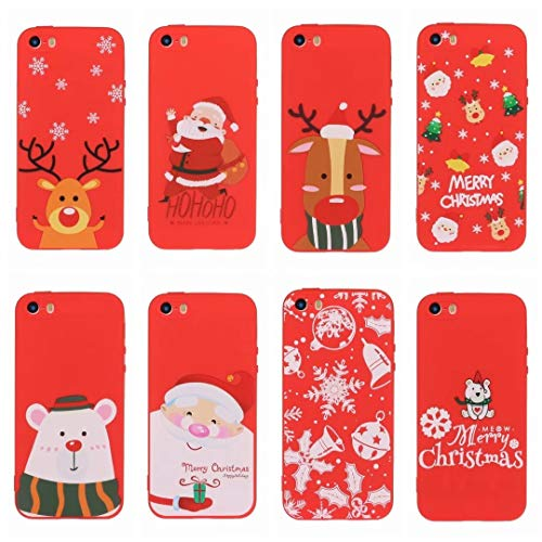 [8 Pack] Christmas Case for iPhone 7 Plus, iPhone 8 Plus, 3D Cartoon Silicone Soft Silicone TPU Shockproof Protective Cases Slim Fit Ultra Thin Bumper Funny Girly Xmas Cover for iPhone 7 Plus/8 Plus
