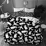 VORMOR Bettwäsche-Set 3 Teile,Nahtlose Hintergrund Flugzeug LKW Vektor-Illustration,weich und angenehm (160x220cm) Bettbezug mit 80x80cm Kissenbezug