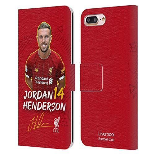 Oficial Liverpool Football Club Jordan Henderson 2019/20 Primer Equipo Grupo 1 Carcasa de Cuero Tipo Libro Compatible con Apple iPhone 7 Plus/iPhone 8 Plus