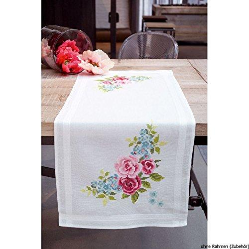 Vervaco Tischläufer Blumenkranz Kit para Punto de Cruz preimpreso, algodón, Multicolor, 40.0 x 100.0 x 0.30000000000000004 cm