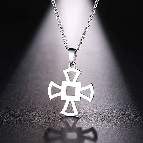 zxcdsaqwe Co.,ltd Collar Collar de Mujer Collar de Hombre Clásico Cruz Hueca Color Plateado Colgante Collar Joyería de Compromiso
