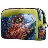 Lizard Chameleon Head Bolsa de maquillaje Organizador para viaje portátil Neceser para niñas y mujeres