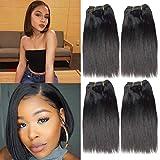 Beauty Hair 4 Bundle Brazilian Straight Hair Human Hair 1 Bundle 50g Unprocessed Virgin Human Hair Extensions 100% Unprocessed Hair Extensions Natural Color (8 8 8 8, Black)