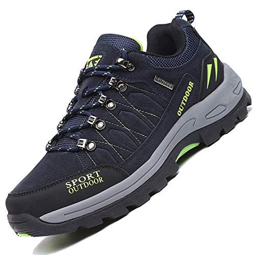 Unitysow Zapatillas de Trekking para Hombres Zapatillas de Senderismo Botas de Montaña Antideslizantes AL Aire Libre Zapatillas de Camping Zapatillas de Deporte EU35-47,Azul Oscuro,EU42
