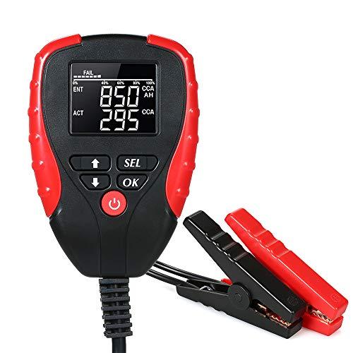Comprobador de batería de coche de 12 V, Battery Tester, analizador digital con modo CCA para automoción, coche, barco, motocicleta, probador de carga de batería y analizador de la vida de la batería