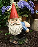 Ebros 13.5' Tall Naughty Fun Prank Bare Butts Mooning Grumpy Garden Gnome Statue Patio Outdoor Pool Deck Figurine As Whimsical Decor Magical Fantasy 'Nature Calls' Dwarf Gnomes
