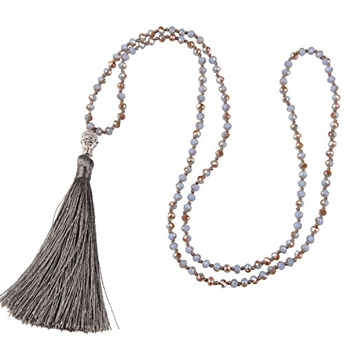 KELITCH Schmuck Kristall Bead Schnur Kette Lange Damen-Halskette Mit Silber Buddha Kopf & Quaste Anhänger - Farbe Grau