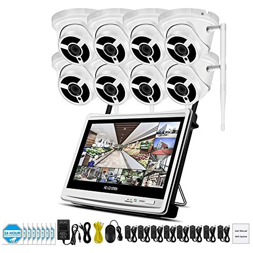 SXZHSM HD-camera, 1080P 2MP 8-weg POE bekabelde bewakingscamera, draadloze NVR met scherm DVR mobiele telefoon afstandsbediening bekijken Mobiele APP toegang met e-mail herinnering bewakingscamera's