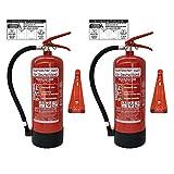 2X 6kg ABC Pulver Feuerlöscher NEU Orginalverpackt Brandklasse ABC EN3 Manometer, Messingarmatur + Sicherheitsventil (Mit Kunststoffstandfuß mit Wandhalter Mit Prüfnachweis u. Jahresmarke)