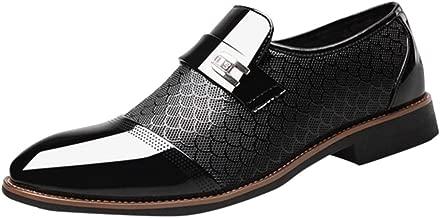 JiaMeng Mocasines de Cuero para Hombres Zapatos de Cuero de Negocios Zapatos Puntiagudos Casuales Zapatos de Traje Masculino de Vestir Cordones Calzado Boda Negocios Moda