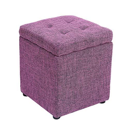 WJXBoos DM Taburete de Almacenamiento Banco de Zapatos Cambio Reposapiés práctico Puf de Tela Reposapiés tapizado Puf Simple Assise Stool Mesa de té (Color: púrpura)