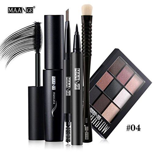 Vovotrade® Blusher Lèvre Gloss Shimmer Palette d'ombre à Paupières Kit de Maquillage Brosse Cosmétique Set Beauty Pro (E)