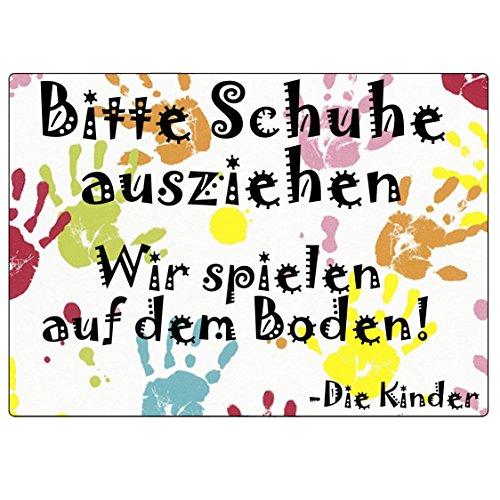 """2 farbenfrohe, selbstklebende Schilder """"Bitte Schuhe ausziehen – Wir spielen auf dem Boden! Die Kinder"""". Äußerst widerstandsfähig, 100 % wasserfest und wetterbeständig."""
