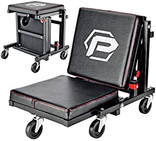 Powerbuilt 2-in-1 Rolling Creeper Seat Converts from High to Low Roller Seat, Fast, Tool-Free Conversion, Garage, Shop, Br...