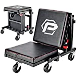 Powerbuilt 2-in-1 Rolling Creeper Seat Converts from High to Low Roller Seat, Fast, Tool-Free Conversion, Garage, Shop, Brake Jobs, Washing, Detailing, Maintenance, Thick Pad, 3-in. Casters - 240298