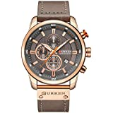 Mens Watches Military Chronograph Large Face Designer Dress Waterproof Sport Wrist Watch Business Analogue Leather Watches for Men - Coffee
