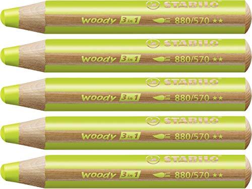 Matita colorata Multi-Funzione - STABILO woody 3 in 1 - Confezione da 5 - Verde Foglia
