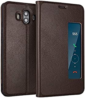 Leather Case Compatible with Huawei Mate 10, Genuine Leather Ultra Thin Flip Window View Stand Feature Case Cover Phone case (Color : Brown)