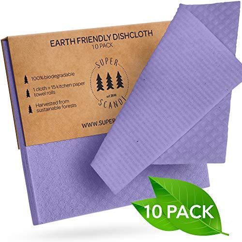 Superscandi Schweden-Geschirrtücher 10 Stück violett umweltfreundlich wiederverwendbar nachhaltig…