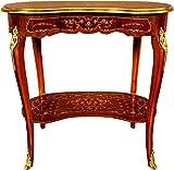 Casa Padrino Mesa Auxiliar barroca cajón marquetería marrón/Oro - cómoda Consola de Estilo Antiguo - Mesa de teléfono - Muebles