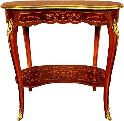 Casa Padrino Barock Beistelltisch mit Schublade Braun Intarsien/Gold - Antik Stil Konsole Kommode - Telefontisch - Möbel