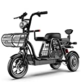 KT MaLL 3 Rueda Bicicleta eléctrica montaña Adulto Vespa 48V 8AH 12 Pulgadas con Bloqueo eléctrico batería con el Cargador rápido Asiento Infantil Desmontable para Uso en el hogar Compras,Black25ah