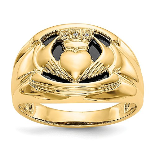 14k Yellow Gold Diamond Black Onyx Mens Irish Claddagh Celtic Knot Band Ring Size 10.00 Man Fine Jewelry For Dad Mens Gifts For Him
