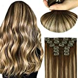 Mushroom Brown Hair Extensions Clip In Hair Extensions Human Hair Natural Black Ombre Brown 120g 7Pcs Double Weft Thick End For Full Head No Tangle Silky Straight Balayage Extensions(MB#22'')