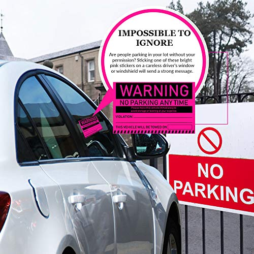"""No Parking Violation Stickers Hard to Remove (Pink) 10-Pack Towing Tags for Illegally Parked Vehicles in Your Lot - Super Sticky Car Permit Notices for Bad or Careless Parking 8"""" x 5"""" by MESS Photo #6"""