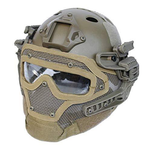Gowing Unisex-Taktikhelm, Stahldrahtmaske, ABS Leichter Vollgesichts-G4-System- / PJ-Helm mit Abnehmbarer Schutzbrille, für Air Gun Paintball-Jagdschieß-CS-Spiel,D