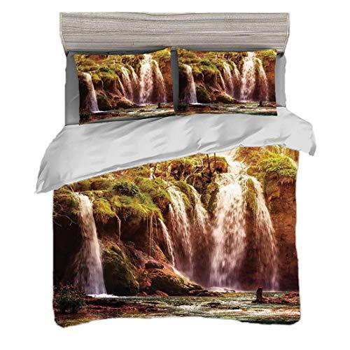 Bettwäscheset Doppelte Größe (200 x 200 cm) mit 2 Kissenbezügen Natur Dekor Mikrofaser-Bettwäsche-Sets Wasserfall-Waldbaum Moss Lake Stones Rocks Wonder des Weltbildes,-grüns und -brauns Pflegeleicht