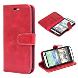 Mulbess Flip Tasche Handyhülle für HTC One M8 Hülle Leder, HTC One M8 Klapphülle, HTC One M8 Handy Hülle, Schutzhülle für HTC One M8 Handytasche, Wein Rot