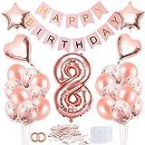 Bluelves Palloncini Compleanno 8 Anno, 8 Palloncini Oro Rosa, Palloncino Numero 8, Palloncini Compleanno, Compleanno Palloncini in Lattice Coriandoli Palloncini