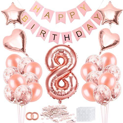 Cumpleaños Globos 8, Decoración de cumpleaños 8 en Oro Rosa, Feliz cumpleaños Decoración Globos 8 Años, 8 Globos de Confeti y Globos de Aluminio para niñas y Mujeres
