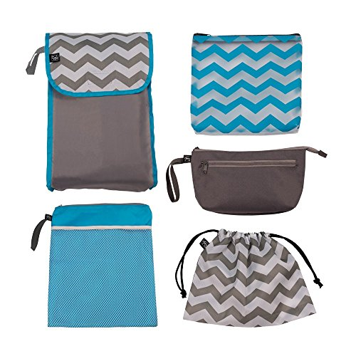 J.L. Childress 5-in-1 Diaper Bag Organizer for Diaper Bag, Purse or Travel Bag, 5 Piece Set, Grey/Chevron