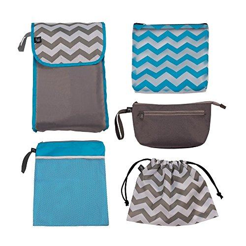 J.L. Childress 5-in-1 Diaper Bag Organizer for Diaper Bag, Purse or Travel Bag, 5 Piece Set, Grey/Chevron